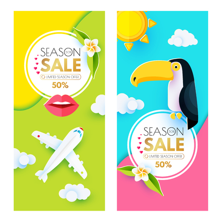 Summer Sale Layout Design Template Set. Paper Art. Season Offer Banner with Toucan, Plumeria, Plane, Lips, Clouds, Circle Banners and Decorative Elements. Exotic Travel. Vector illustration