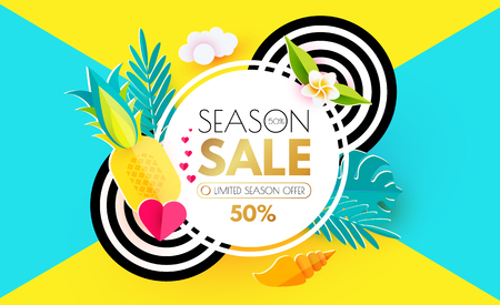 Summer Sale Layout Design Template. Paper Art. Season Offer Banner withCircle Banner, Starfish, Pineapple, Shell, Palm and Monstera Leaves, Heart and Decorative Circles on Colorful Background. Vector