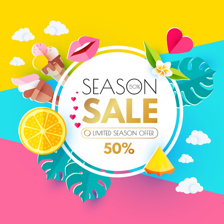 Summer Sale Layout Design Template. Paper Art. Season Offer Banner with Circle Banner, Citrus, Plumeria, Icecream, Lips, Clouds, Pineapple Peace and Monstera Leaves on Colorful Bright Background. Vector illustration Stock Photo