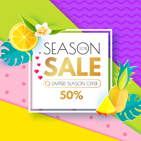 Summer Sale Layout Design Template. Paper Art. Season Offer Banner with Square Banner, Citrus, Hearts, Pineapple, Plumeria, Monstera Leaves and Heart on Colorful Background.Vector illustration
