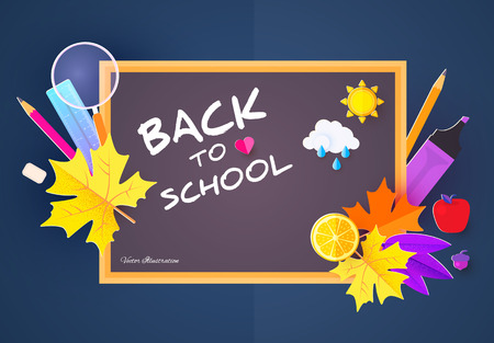 Back to School Design Template with School Supplies and colorful Leaves. Paper Art. Vector illustration