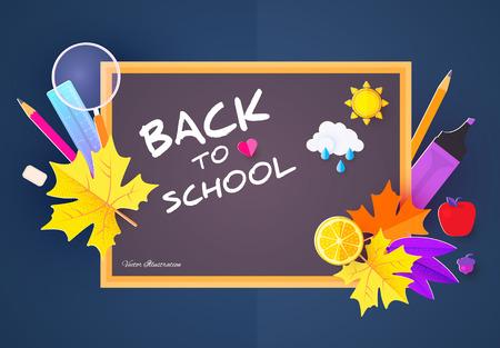 Modèle de conception de retour à l'école avec des fournitures scolaires et des feuilles colorées. Papier Art. Illustration vectorielle Vecteurs