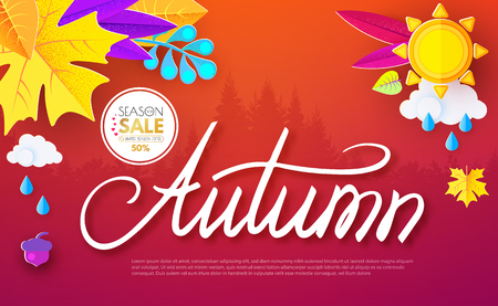 Autumn Background with Colorful Leaves. Seasonal Sale Flyer and Web Template. Hand Lettering and Paper Art. Vector illustration