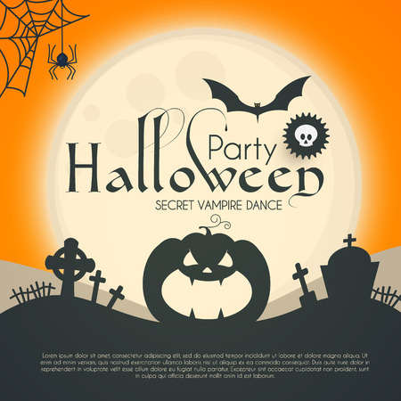 Halloween Party Silhuette Design Template with Pumpkin, Cobweb, Spider, Moon and Bat. Vector illustration