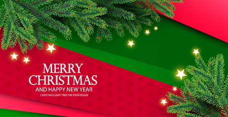 Merry Christmas Background with Fir Tree Branches and Shining Stars. Vector illustration