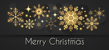 Elegant Christmas Background with Gold Shining Snowflakes. Vector illustration