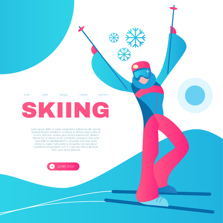 Skiing. Alpine Sport Design Template with Sportsman and Snow.