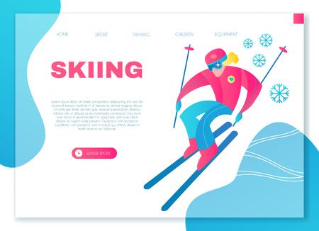 Speed Skiing. Winter Sport Design Template.