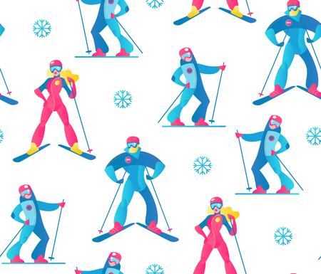 Winter Sport Seamless Pattern. Skiers and Snow. Vector illustrtion  イラスト・ベクター素材