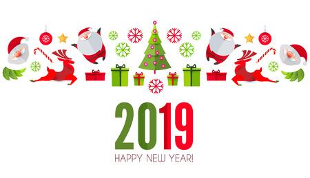 Happy Ner 2019 Year! Christmas Design Template. Paper Art. Vector illustration