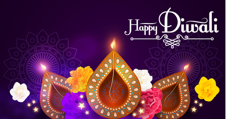 Happy Diwali. Traditional Indian Festival Background with Burning Diya Lamp. Hindu Holiday.