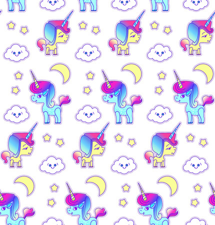 Cute Unicorn Seamless Pattern. Magic Dream. Kids Design. Vector illustration