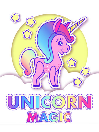 Cute Greeting Cards with Magic Unicorn. Vector illustration