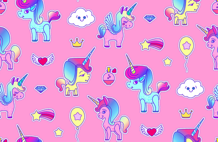 Cute Unicorn Seamless Pattern. Magic Dream. Kids Design.