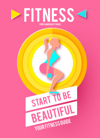 Woman Fitness Poster Template. Sport Motivation. Paper 3D Art. Workout girl. Sports and Health Care Flyer. Gym Design. 版權商用圖片
