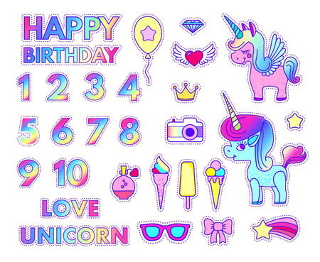Happy Birthday Stickers Set with Digits, Love and Unicorn, Balloon, Diamond, Flying Heart, Crown, Camera, Ice Cream, Philter, Camera, Sun Glasses, Bow, Star and Comet. Patch Badges Collection. Illustration