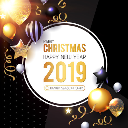 Happy New 2019 Year! Shining Greeting Card with Realistic Glossy Balloons and Serpentine. Vector illustration