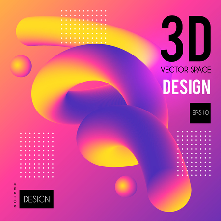 3D Gradient Design. Colorful Abstract Composition. Liquid Color Shape.