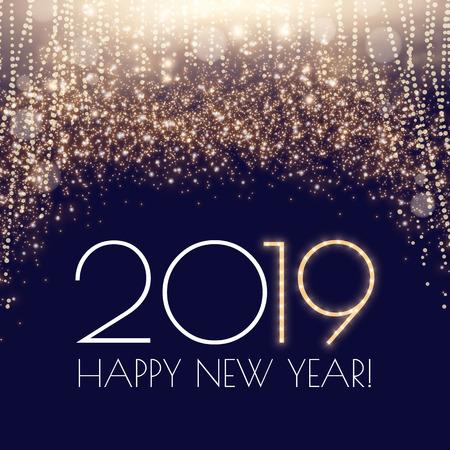 ¡Feliz año 2019! Fileworks, Luces y Efecto Bokeh. Ilustración vectorial