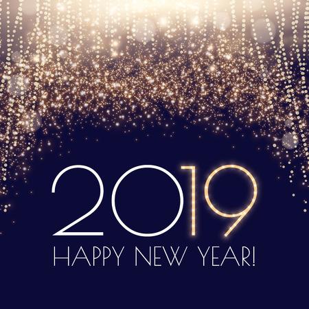 Happy Hew 2019 Year! Fileworks, Lights and Bokeh Effect. Vector illustration