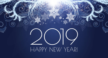Happy Hew 2019 Year Shining Holiday Background with Frost Patterns and Lights.