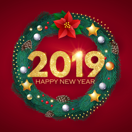 Happy New 2019 Year! Realistic Christmas Composition with Fir Tree Branches, Glossy Toys, Cones, Poinsettia and Lights. Vector illustration