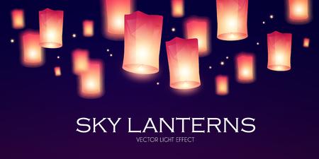 Flying Sky Lanterns. Chinese Light Effect Decoration.