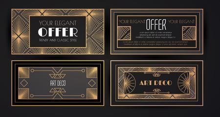 Elegant Vintage Card Templates Set in Art Deco Style. Luxury Design. Vip Voucher. Stock Photo