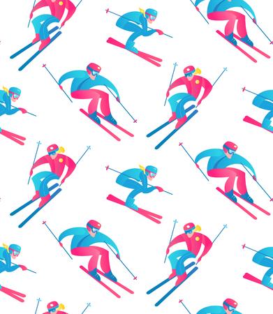 Winter Sport Seamless Pattern. Skiers and Snow. 写真素材