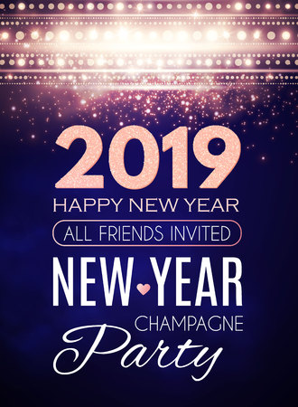 Happy New 2019 Year Party Poster Template. Art Deco Light Effects and Place for Text. Illustration