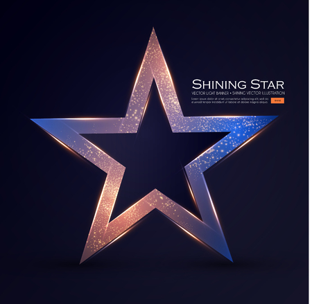 Gold Star Sign with Glitter and Light Effect. Vector illustration Reklamní fotografie - 127691956