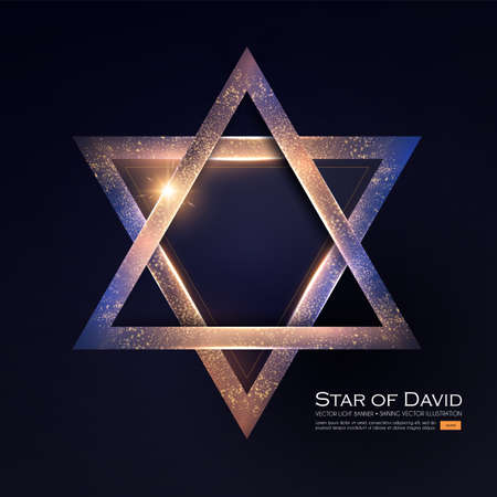 Star of David. Jewish Religion Sign. 3D Element with Light Effect.