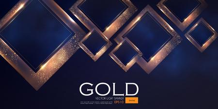 Abstrakter überlappender geometrischer Hintergrund mit Goldglitter-Effekt.Vector illusratration Vektorgrafik