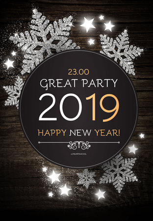 Hapy New 2019 Year Poster Template with Shining Snowflakes on Wood Texture. Vector illustration