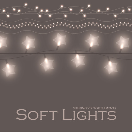 Soft Light Garlands Collection. Transparent Decoration. Vector illustration