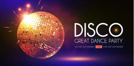Disco Party Flyer Templatr with Mirror Ball, Fog and Light Effects. Vector illustration