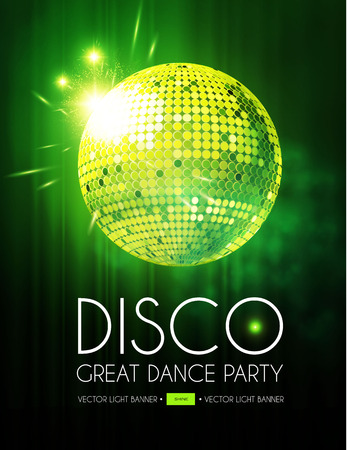 Disco Party Flyer Templatr with Mirror Ball, Stage Curtain and Light Effects. Standard-Bild - 114025733