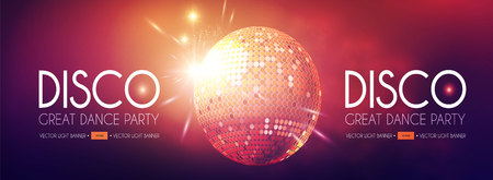 Disco Party Flyer Templatr with Mirror Ball and Light Effects. Standard-Bild - 114025745