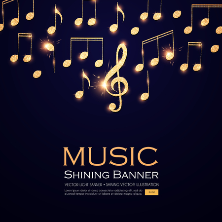 Music Background. Gold Shining Notes and Treble Clef. Vector illustration