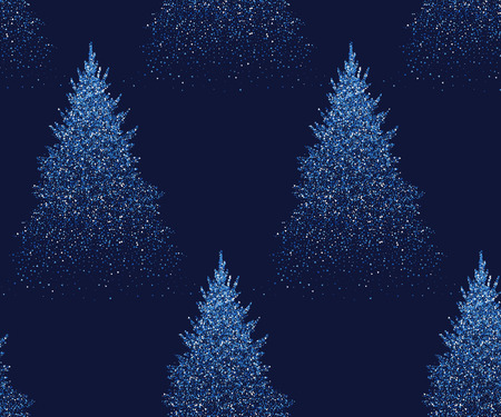 Winter Seamless Pattern with Fir Trees and Pines in Snow. Coniferous Forest. Christmas Decoration. Vector illustration Ilustrace