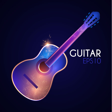 Acoustic Guitar. Music Instrument with Light Effects. Vector illustration