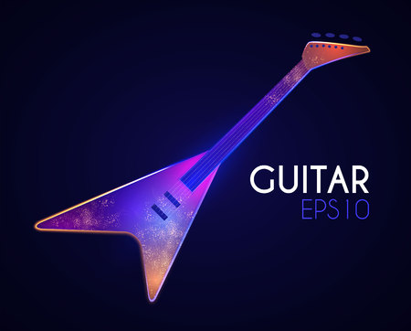 Electric Guitar. Music Instrument with Light Effects. Vector illustration