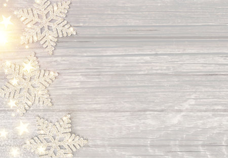 Merry Christmas Elegant Background with Silver Snowflakes and Stars on Wood Texture. Vector illustration