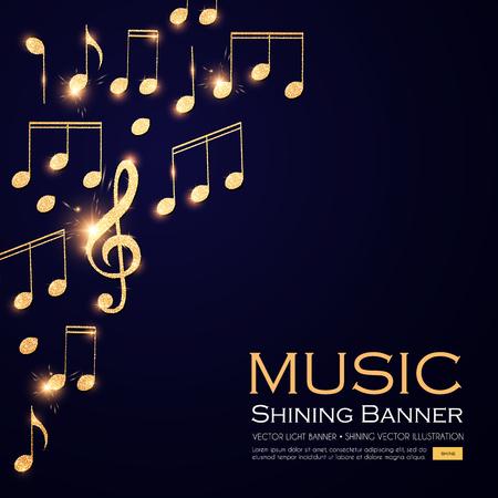 Fondo de música. Notas de oro brillante y clave de sol.