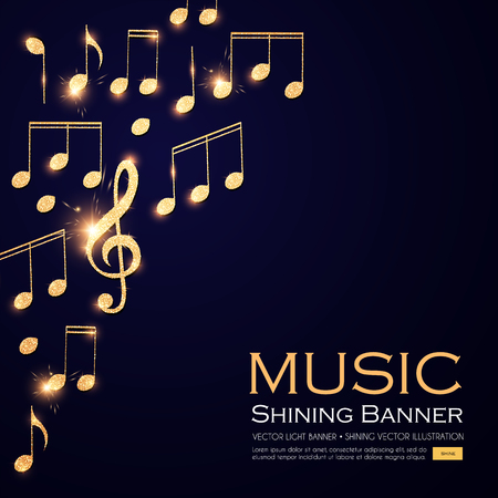 Music Background. Gold Shining Notes and Treble Clef.