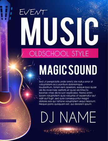 Music Concert Toster Template with Guitar and Light Effects. Vetores