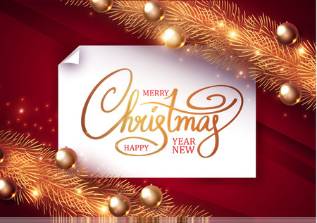 Merry Christmas Elegant Design Template. Gold Fir Tree Branches, Glossy Balls, Lettering and Light Effect. Vector illustration