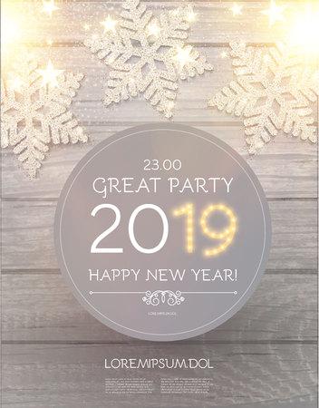 Hapy Nieuwjaar 2019 Poster sjabloon met glanzende sneeuwvlokken op houtstructuur. vector illustratie