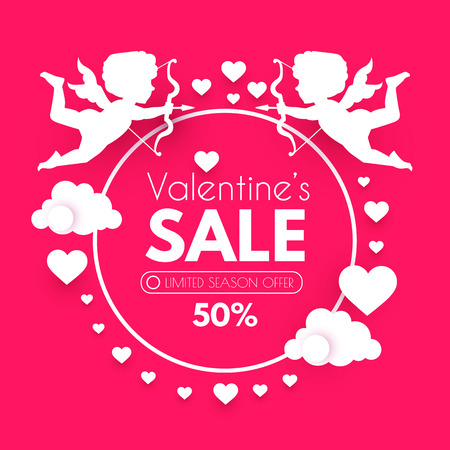 Valentine s Day Sale. Cute Design Template with Hearts, Cloud and Cupid Holding Bow and Arrow. Vector illustration