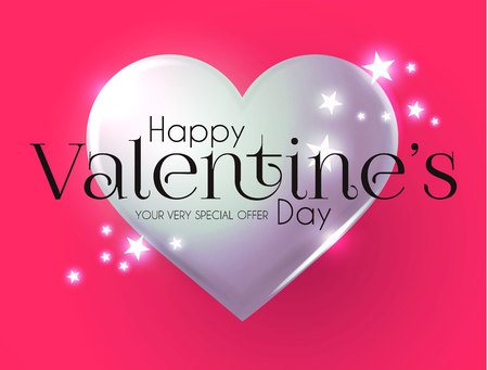 Happy Valentine s Day Design Template with Glossy Hearts.